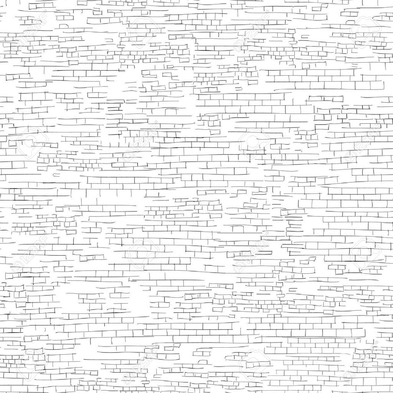 Ancient brick wall background. Shabby brick wall sketch pattern Architectural texture - 60824818