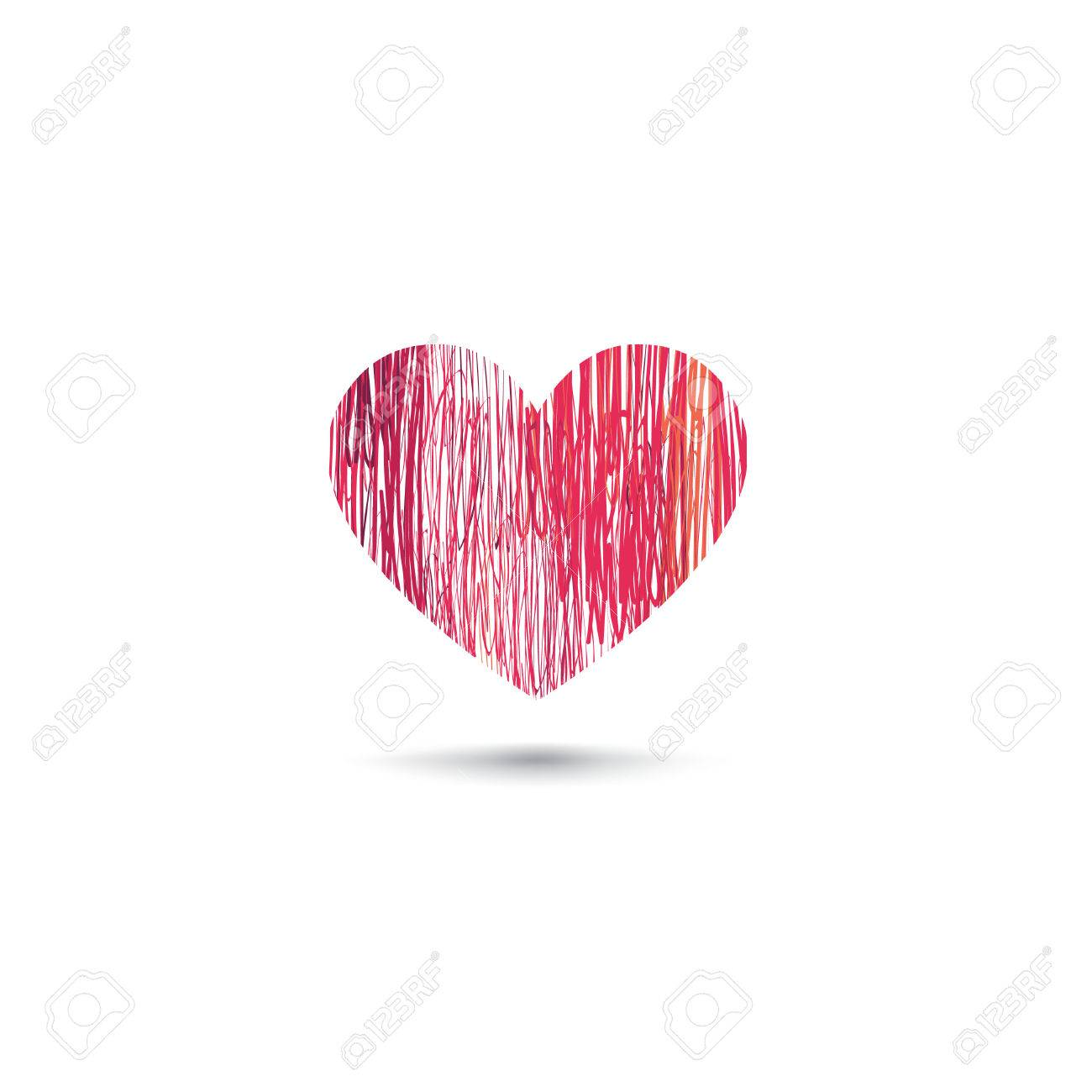 Love heart card pencil drawing sketch heart icon isolated over white background stock vector