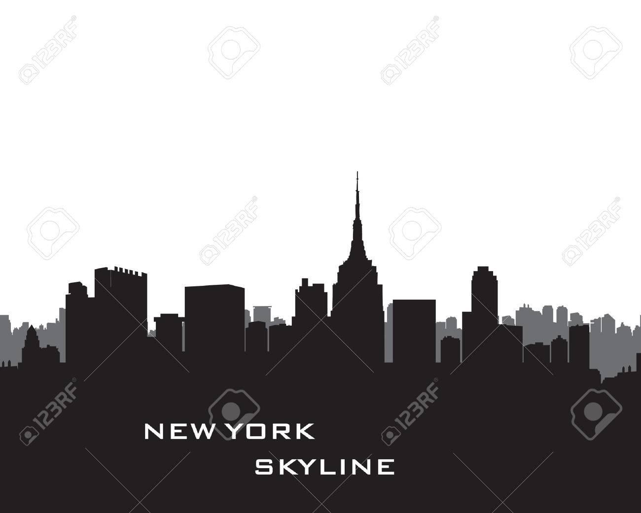 New York Skyline. Vector USA landscape. Cityscape with skyscrapers. City silhouette. Panorama city background. Skyline urban border. - 60824879