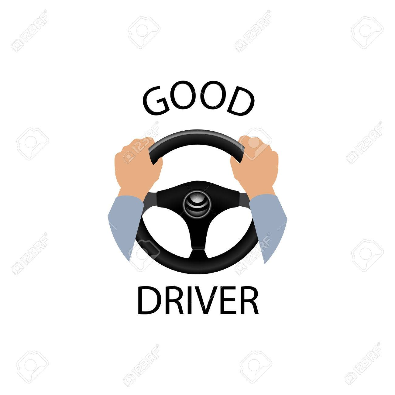 Good driver sign. Diver design element with hands holding steering wheel. Vector icon. - 61188191