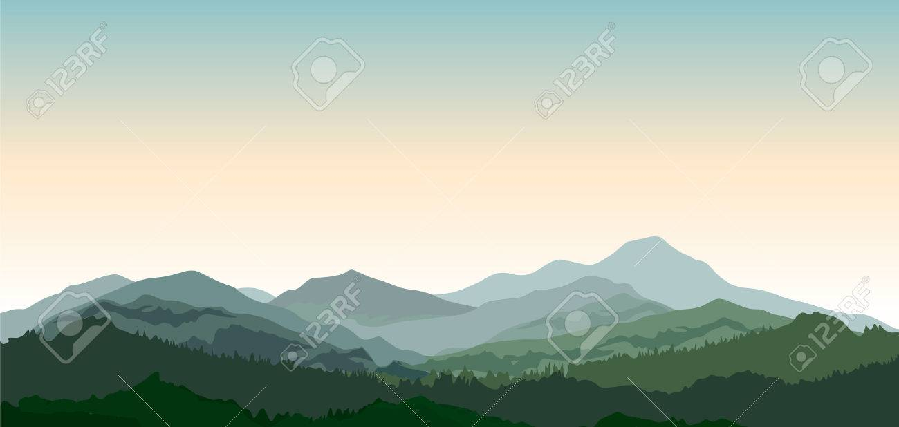 Landscape with mountains. Nature background. Hills of coniferous wood in dark green vector illustration - 61188224