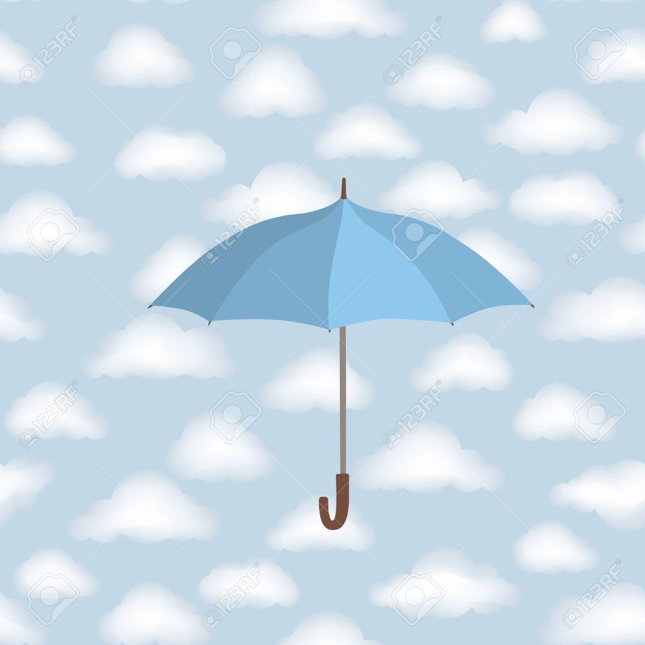 曇り空の背景の上の傘 雲のシームレスなパターン 天気壁紙のイラスト