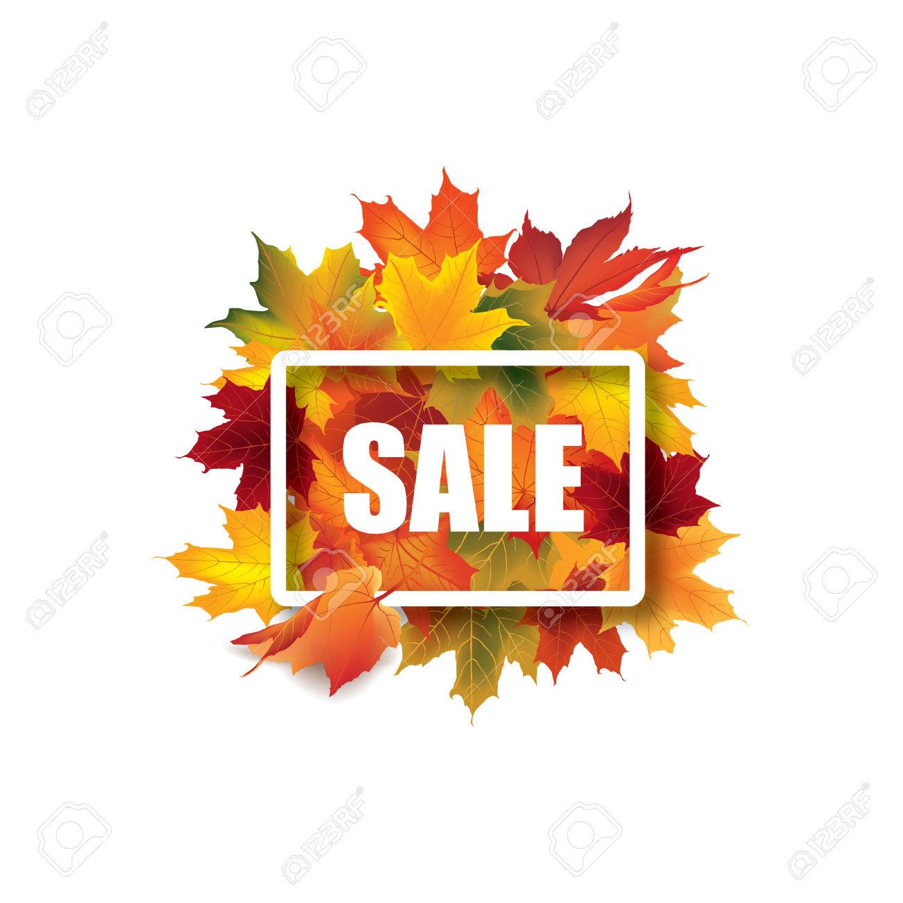 fall leaves sign autumn leaf frame nature symbol with sale