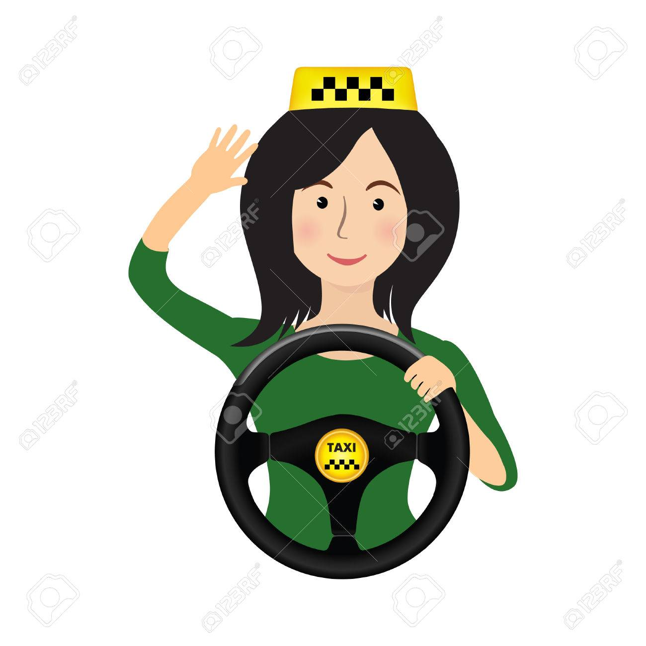 Taxi driver girl holding wheel. Concept background banner for order a taxi. Cartoon illustration of the trip in a taxi. - 62044888
