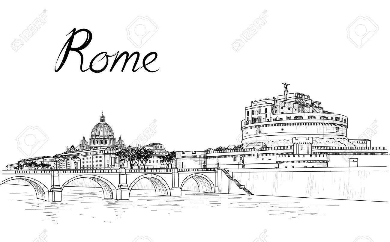 Rome cityscape with St. Peter's Basilica. Italian city famous landmark Castel Sant'Angelo skyline. Travel Italy engraving. Rome architectural city background with lettering - 63178080