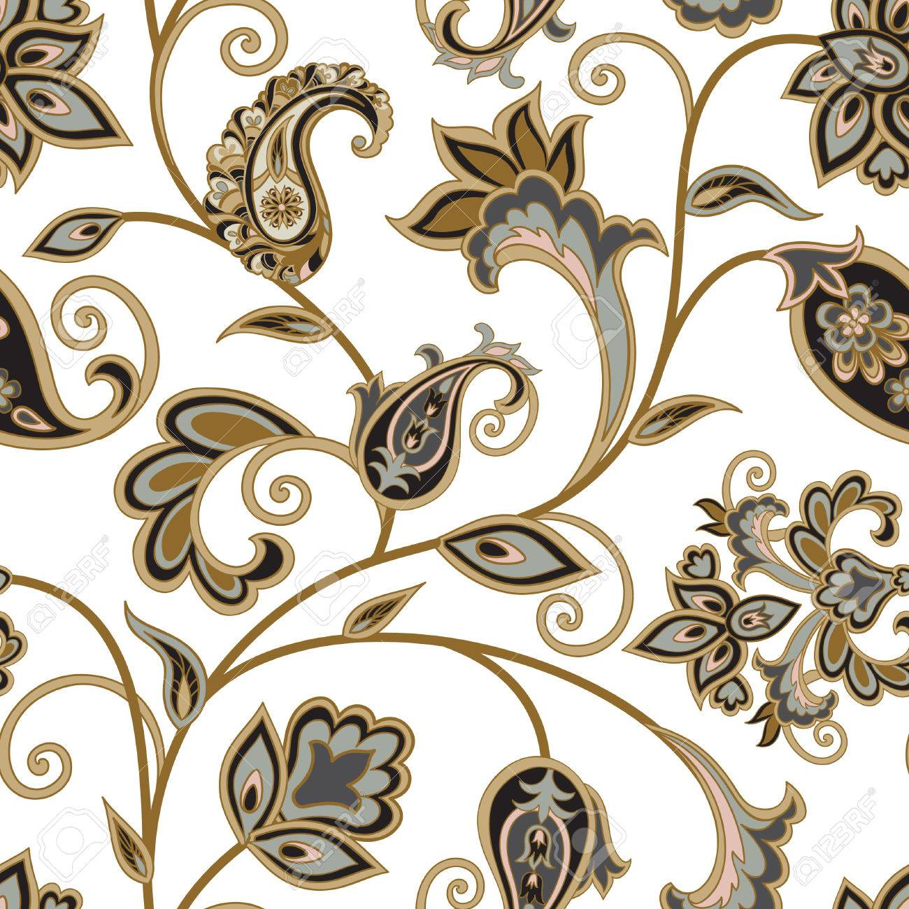 Flourish tiled pattern. Floral oriental ethnic background. Arabic ornament with fantastic flowers and leaves. Wonderland motives of the paintings of ancient Indian fabric patterns. - 64084316