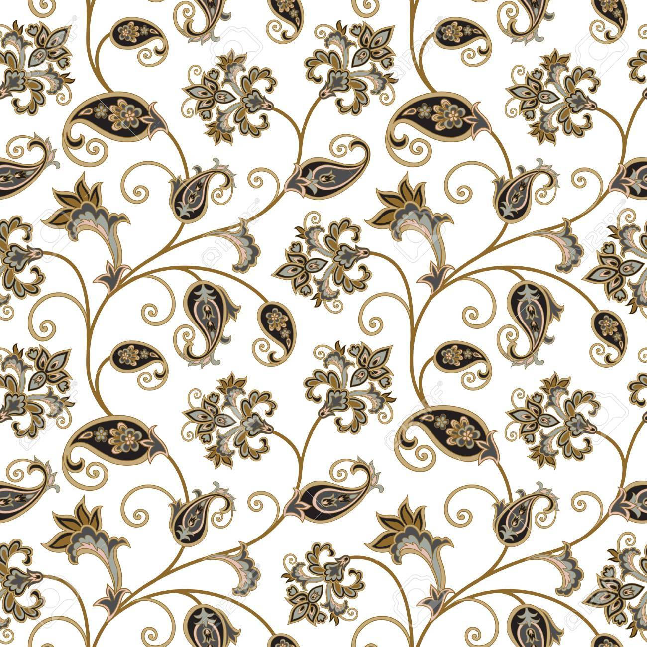 Floral Pattern Flourish Oriental Ethnic Background Arabic