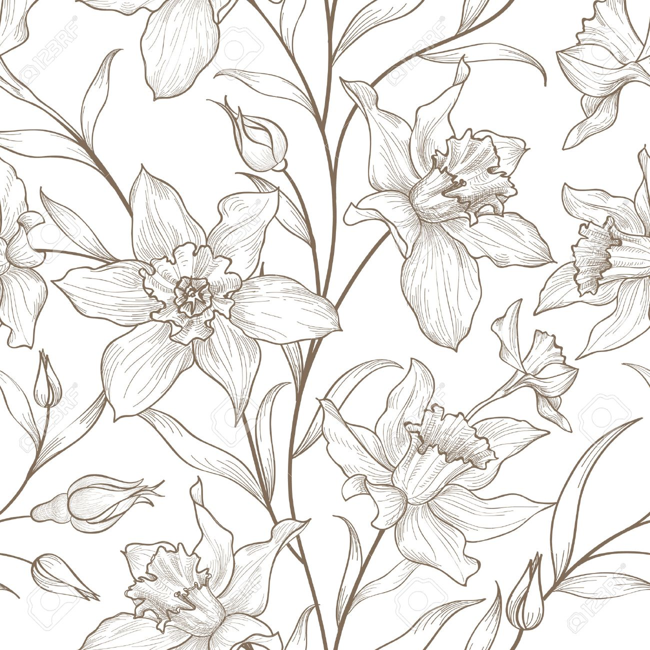 Floral seamless pattern. Flower background. Floral tile ornamental texture with flowers. Spring flourish garden - 64752398