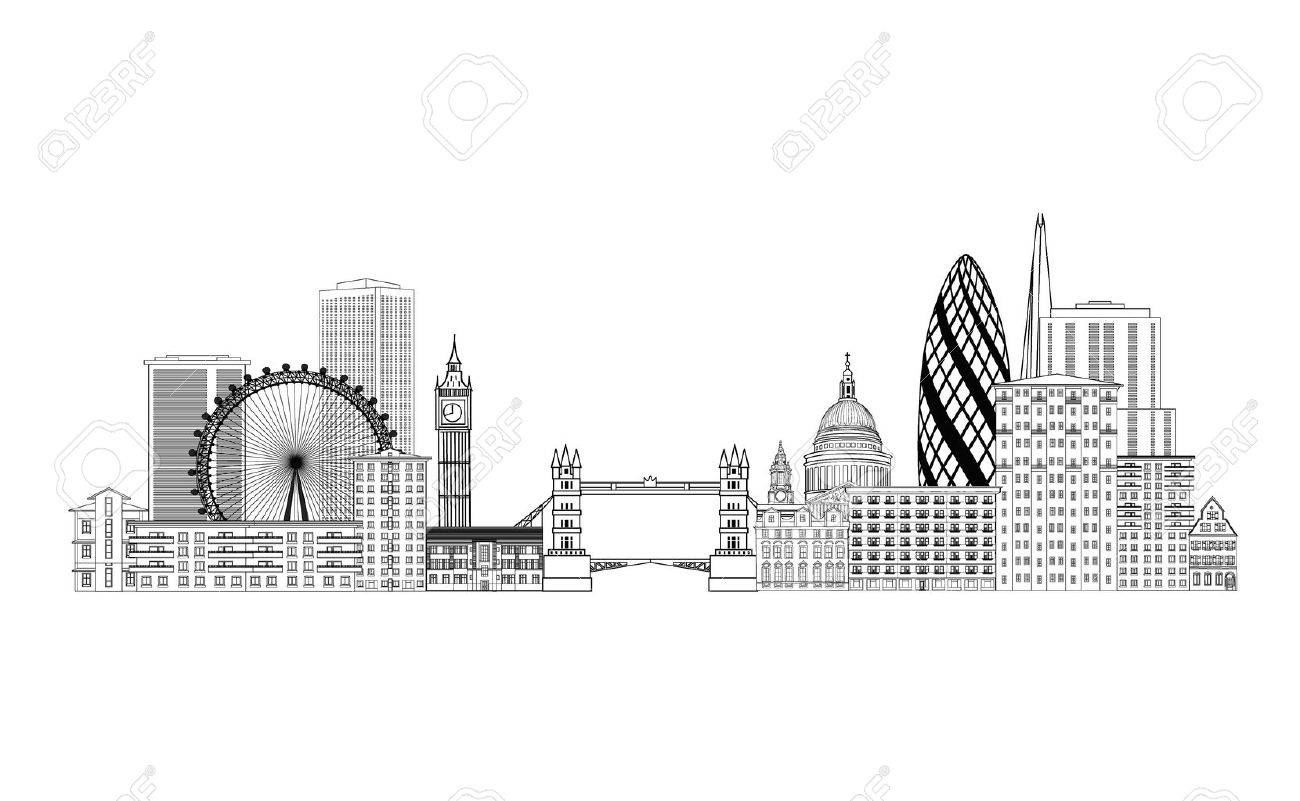 London skyline. London cityscape with famous landmarks and buildings. Travel Untied Kingdom baclkground - 65206722