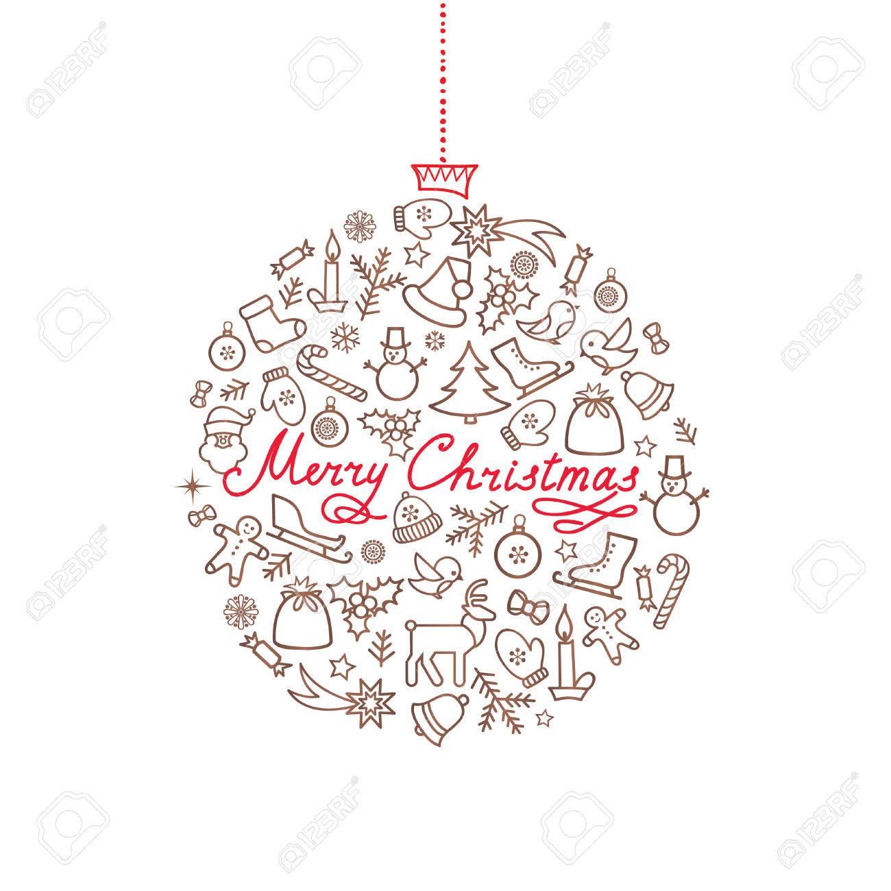 Doodle Weihnachtsfeier.Stock Photo