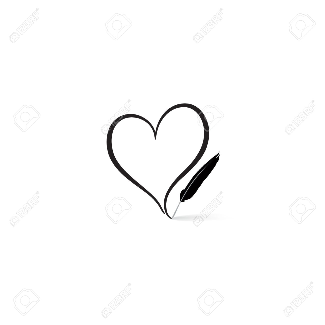 Love heart written by feather pen. St Valentine's day greeting card. Heart shape design for love symbols. - 69051928