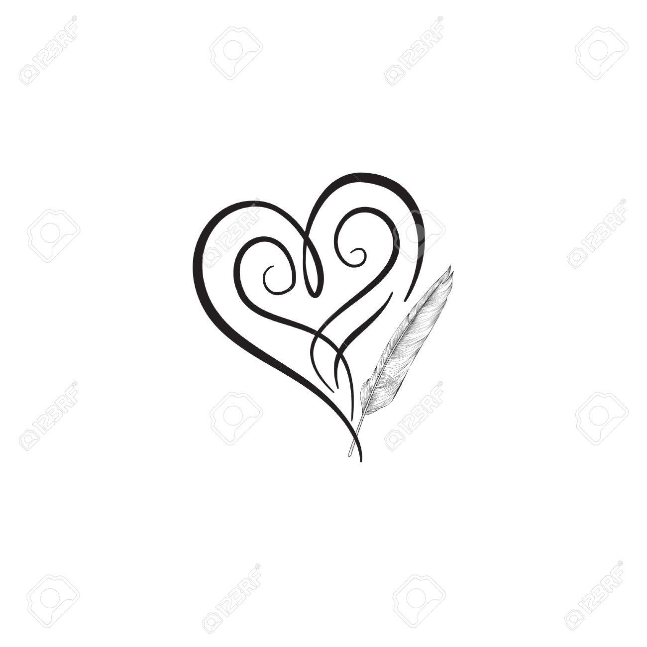 Love Heart Drawn By Feather Pen St Valentines Day Greeting Card