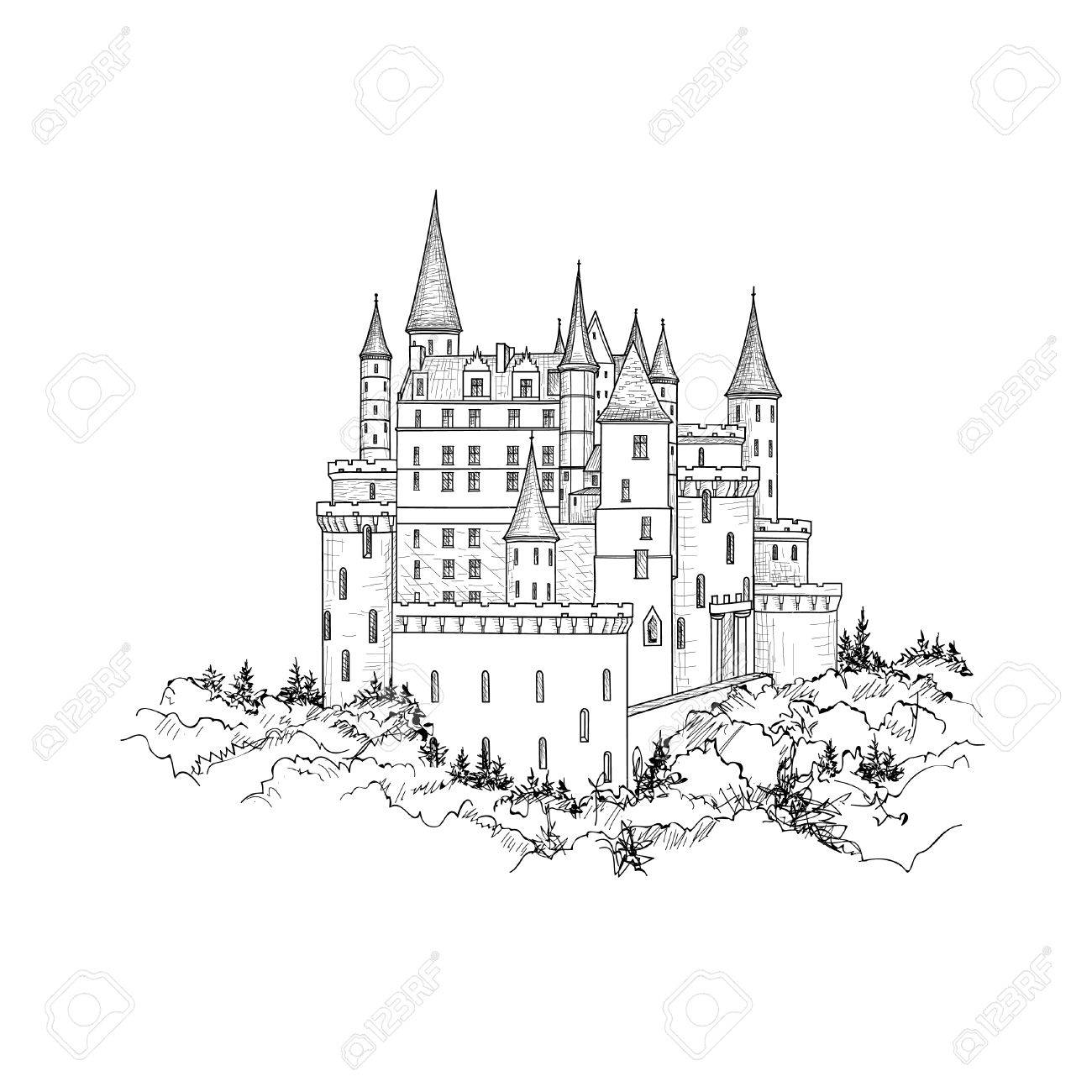 Famous Castle Landscape. Travel Background. Castle building on the hill skyline etching. Hand drawn sketch - 69902448