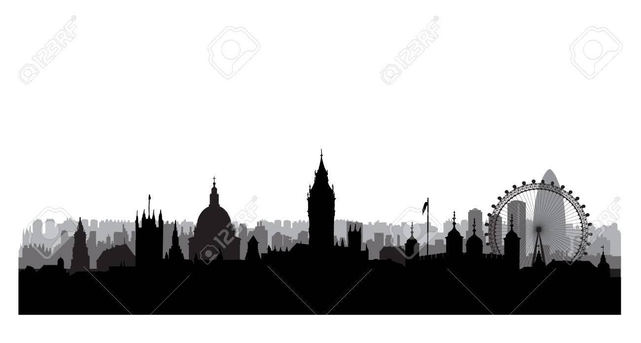London city buildings silhouette. English urban landscape. London cityscape with landmarks. Travel Untied Kingdom skyline background - 70727092