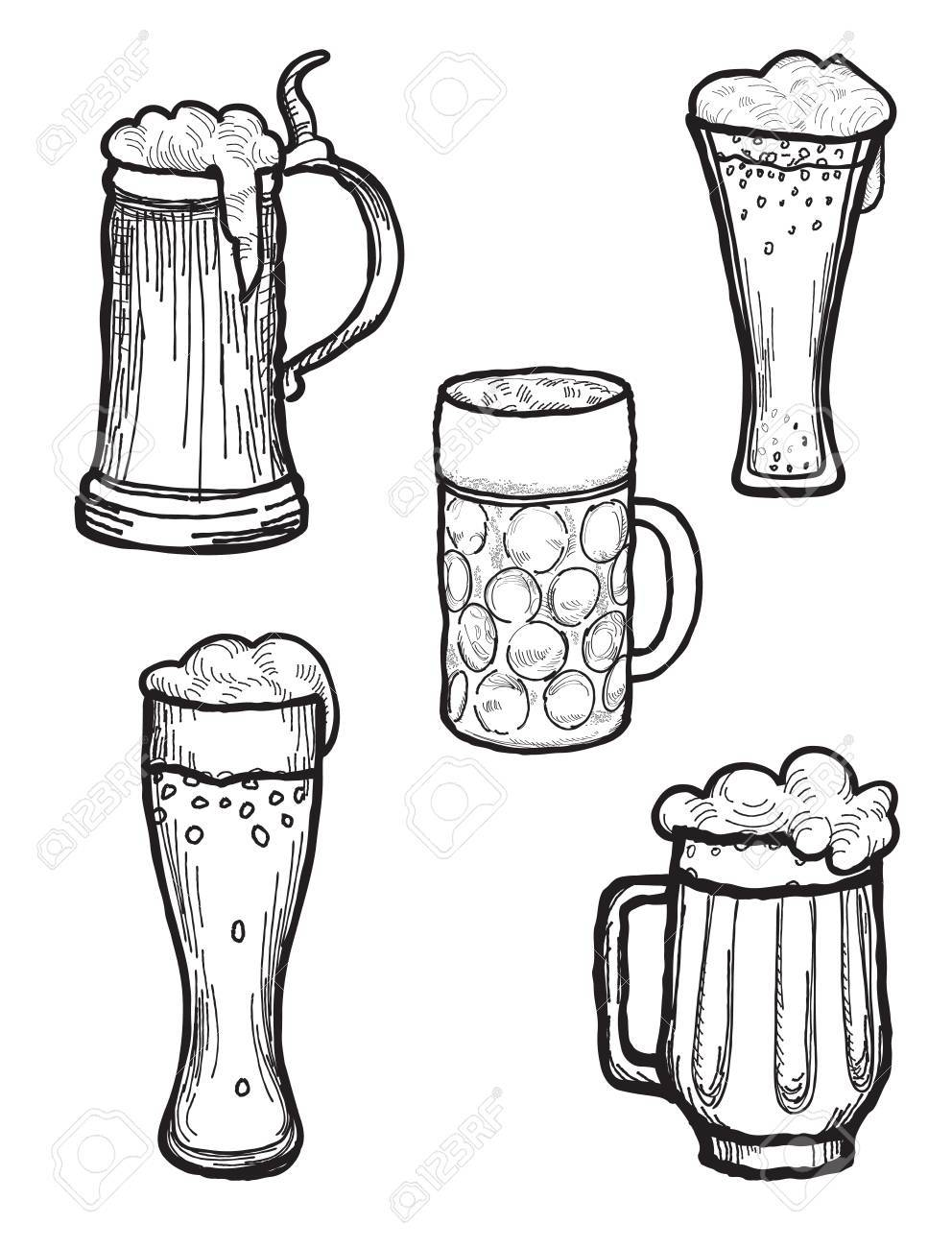Beer Ware Set In Retro Style Beer Mug And Beer Glass Silhouette Doodle Engraved Collection Royalty Free Cliparts Vetores E Ilustracoes Stock Image 71028269