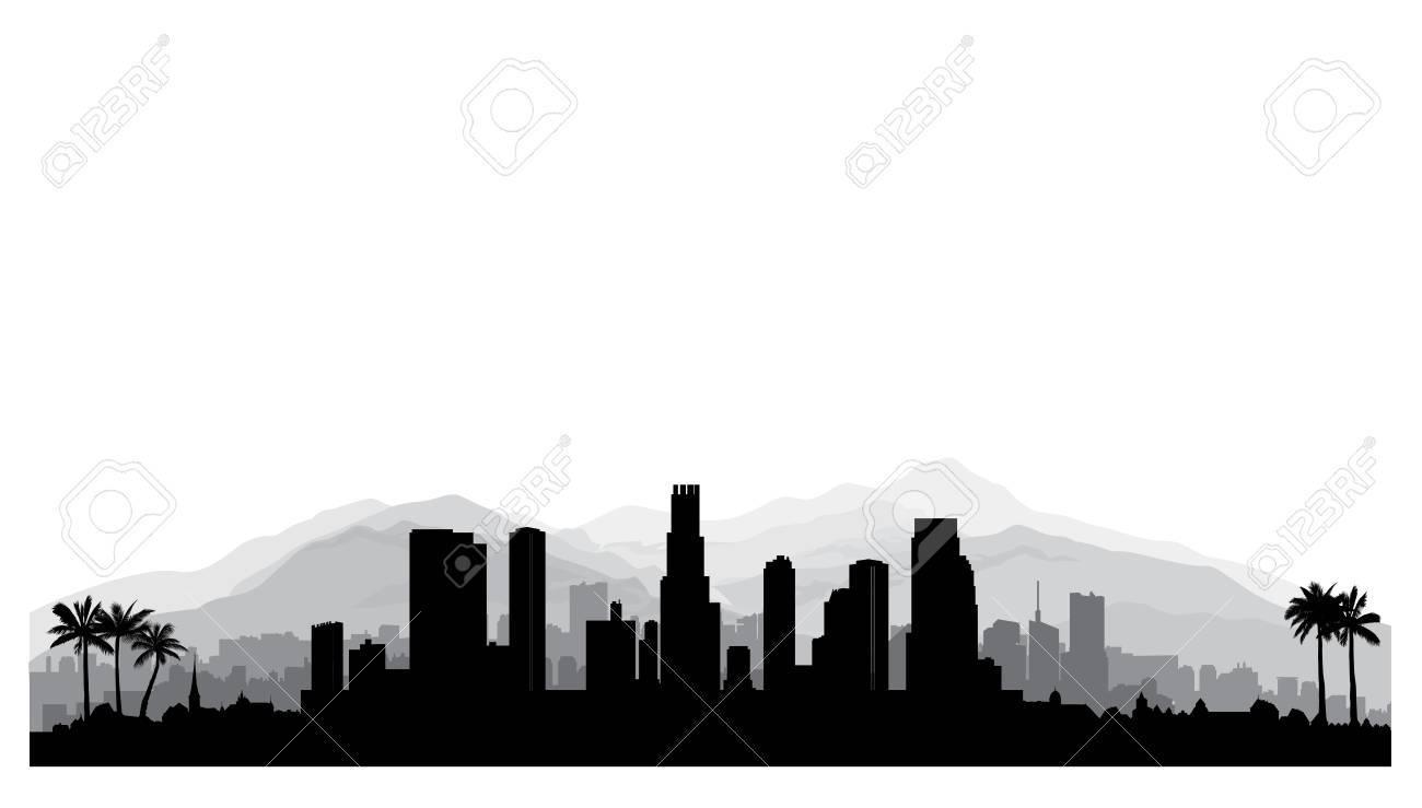 los angeles, skyline der usa. stadt silhouette mit wolkenkratzer gebäuden,  berge und palmen. stadtbild mit berühmten amerikanischen wahrzeichen.  urbane architektonische landschaft. lizenzfrei nutzbare vektorgrafiken,  clip arts, illustrationen. image ...  123rf