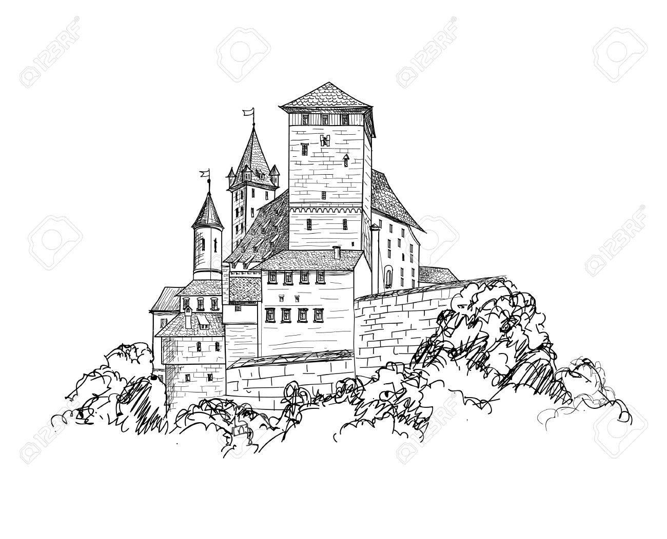 Ancient castle landscape engraving. Tower building sketch skyline - 75321257