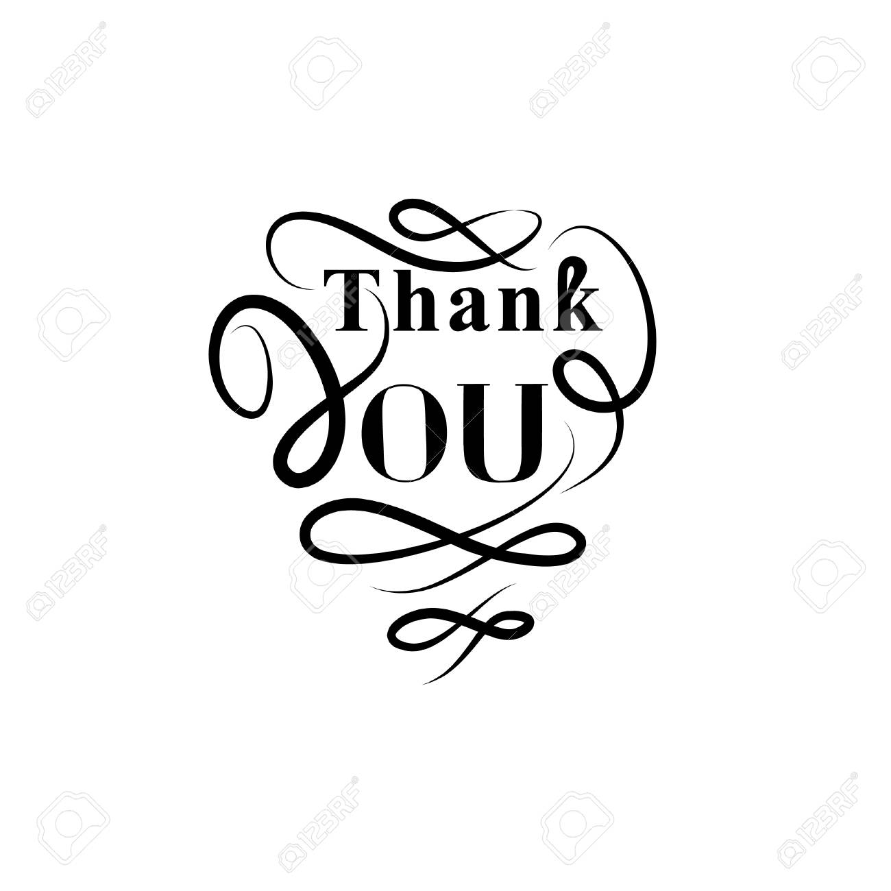 Thank You Greeting Card With Handwritten Lettering And Swirl