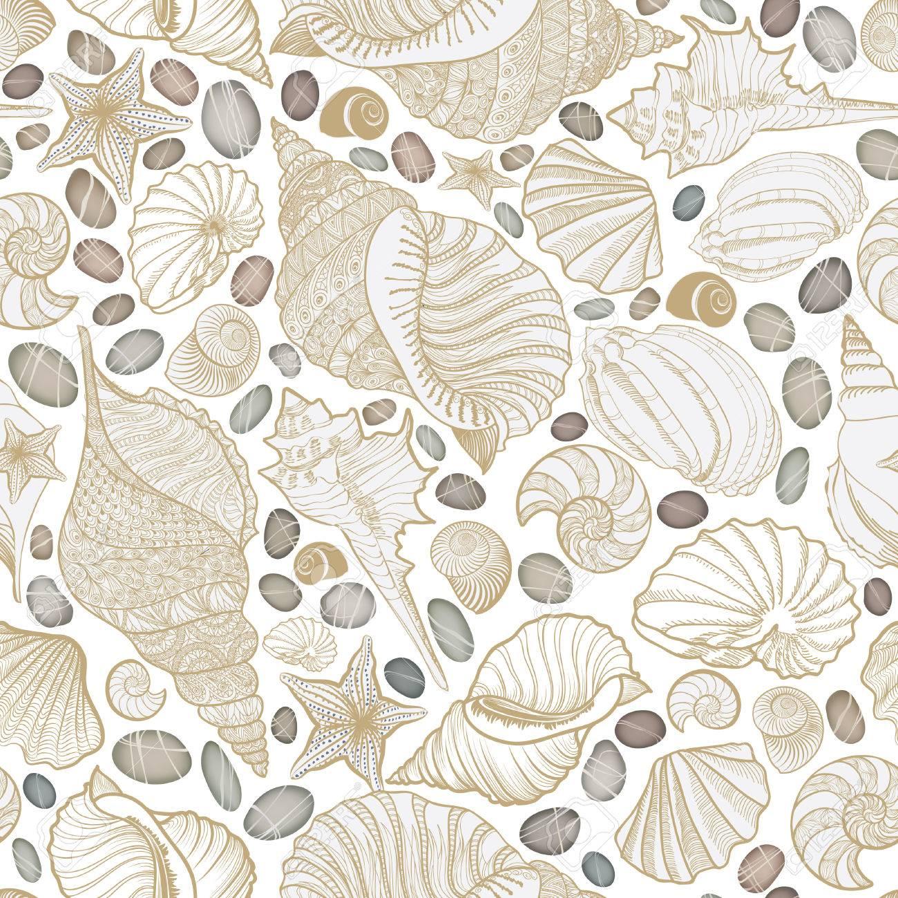 貝殻のシームレスなパターン 夏の休日の海洋背景 水中観賞用テクスチャ 海の貝 海の星砂とスケッチの壁紙です のイラスト素材 ベクタ Image 7415