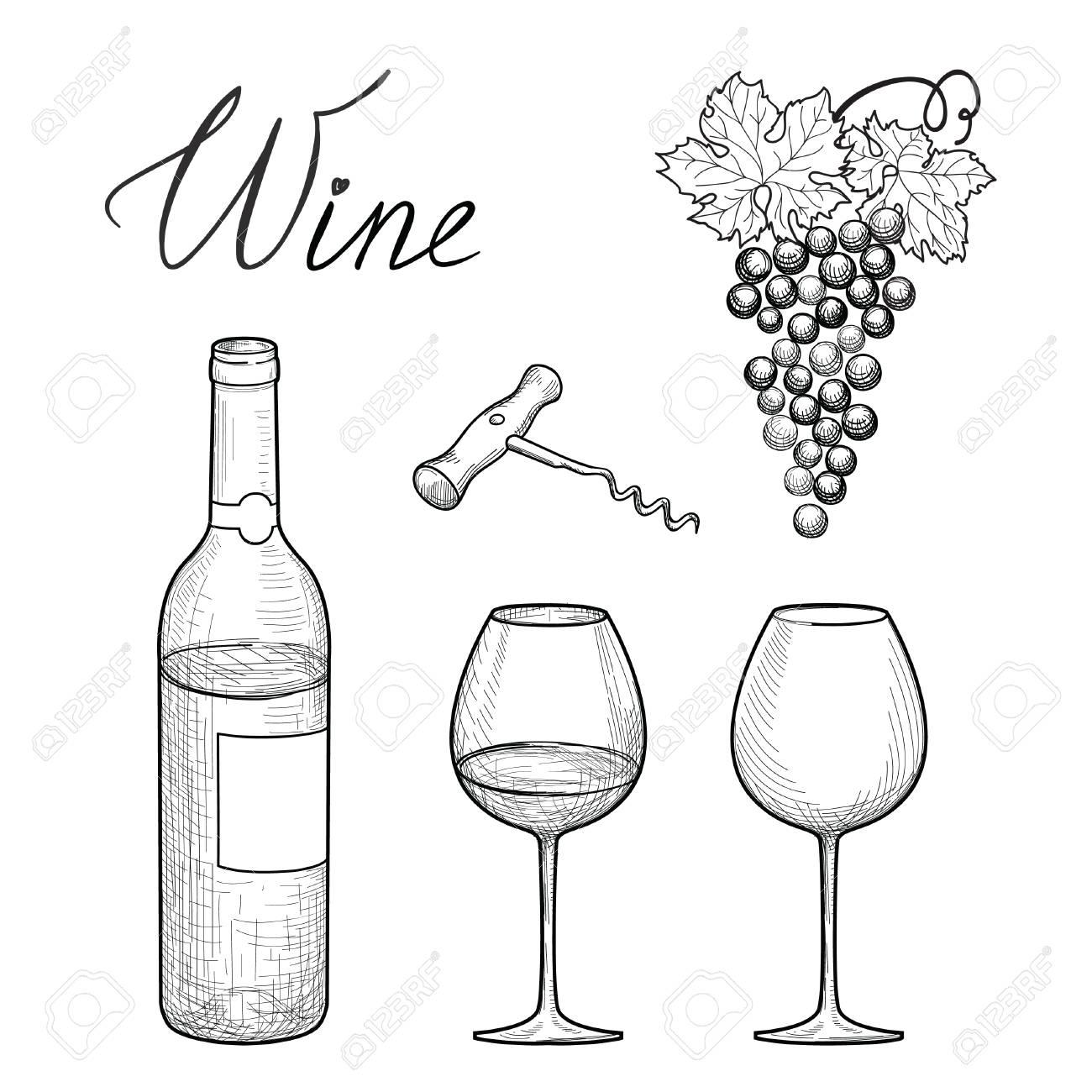 Ensemble de vin. Verre à vin, bouteille, branche de raisin, lettrage manuscrit. Collection de style croquis au vignoble