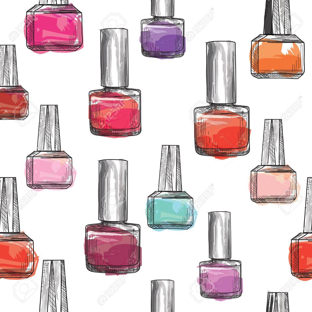 Nail Polish Bottle Pattern. Beauty Salon Background. Love Manicure ...