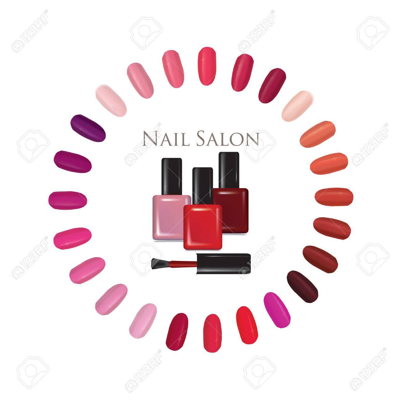 Nail Beauty Salon Background. Nail Palette Set. Colorful Manicure ...