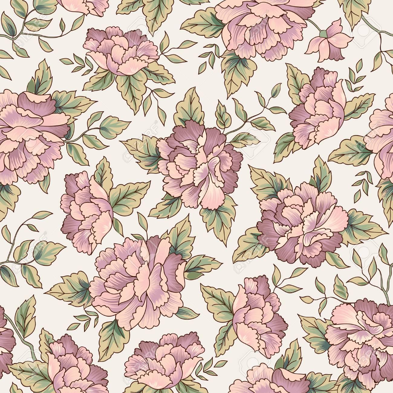 Floral pattern. Flower seamless background. Flourish ornamental garden - 85693214