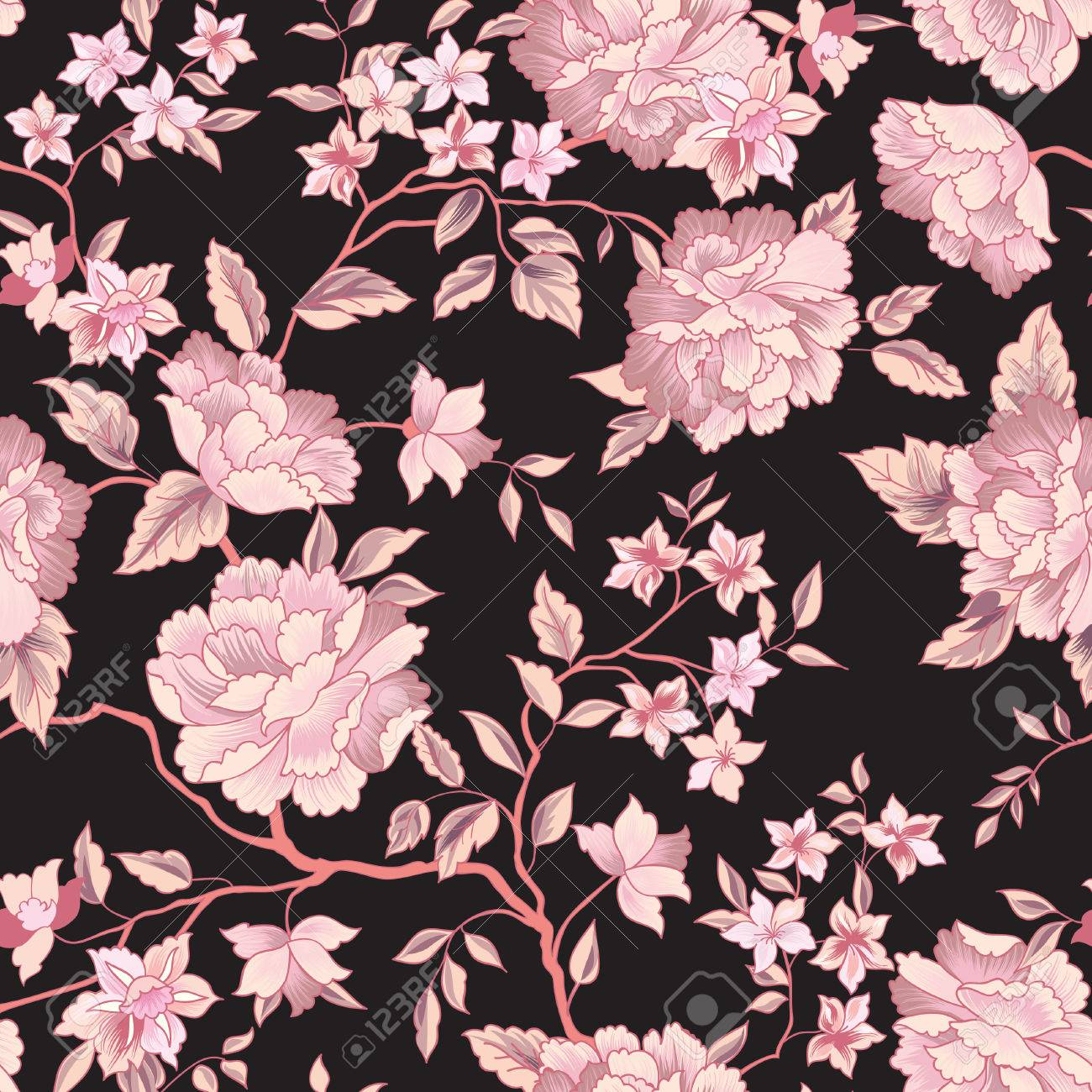 Floral pattern. Flower seamless background. Flourish ornamental garden - 86207388