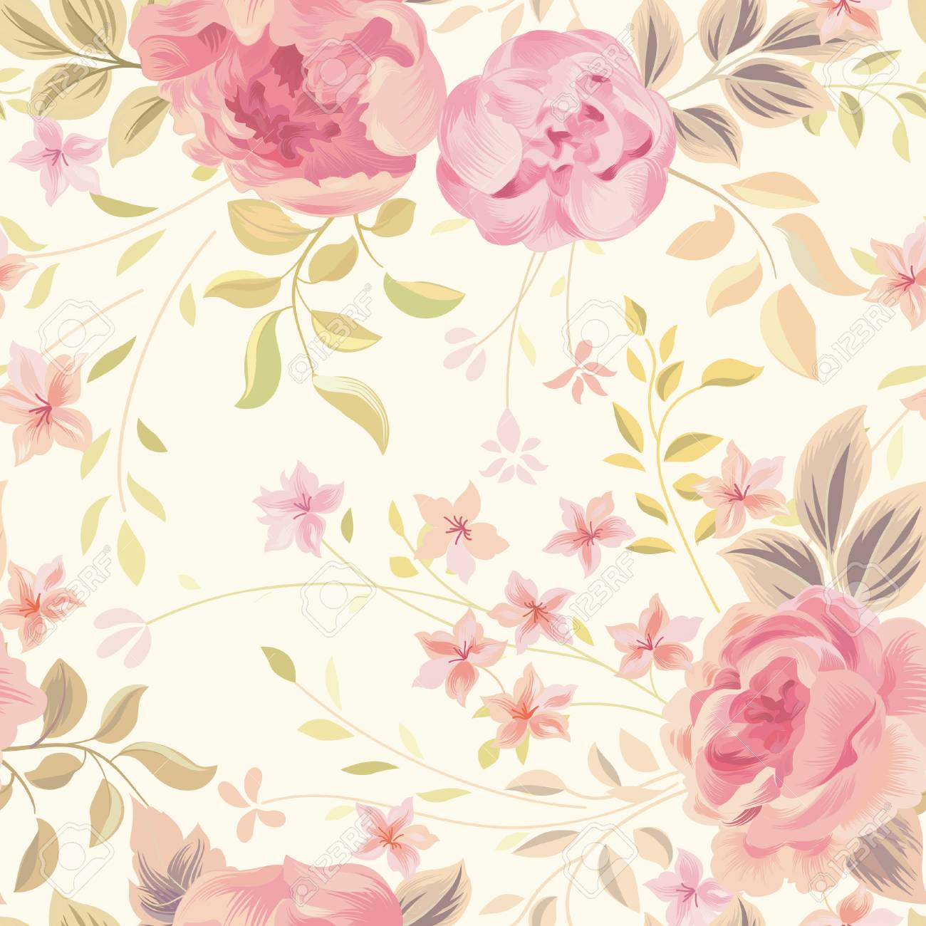 Floral Seamless Pattern Flower Rose And Leaves On Pastel