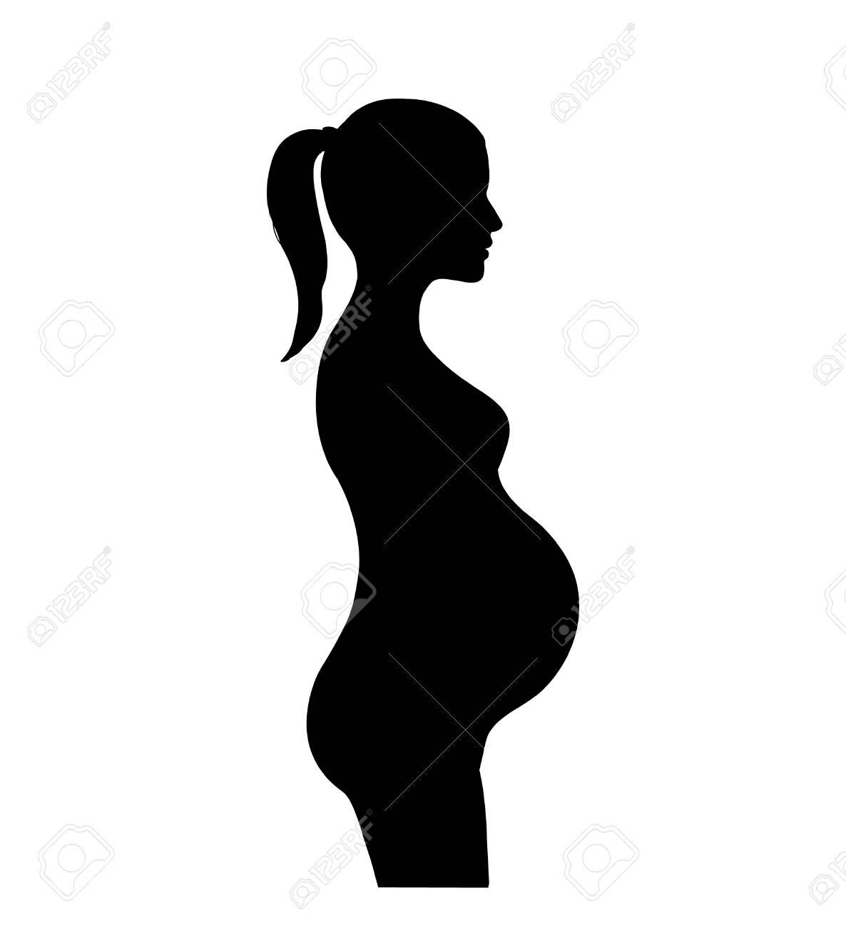 Pregnant Woman Silhouette. Motherhood Sign. Pregnancy Symbol ...