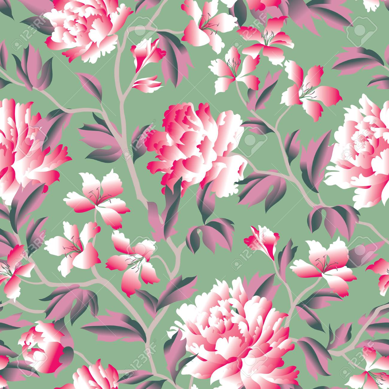 Floral Seamless Pattern Flower Rose Chinese Background Flourish