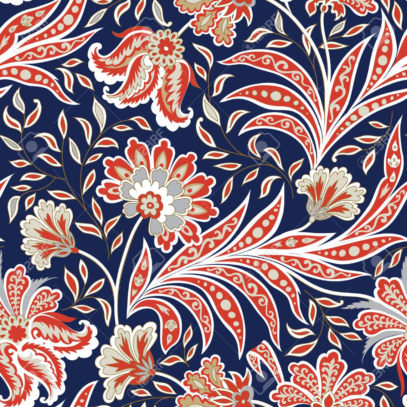 Floral Pattern Flourish Tiled Oriental Ethnic Background Arabic