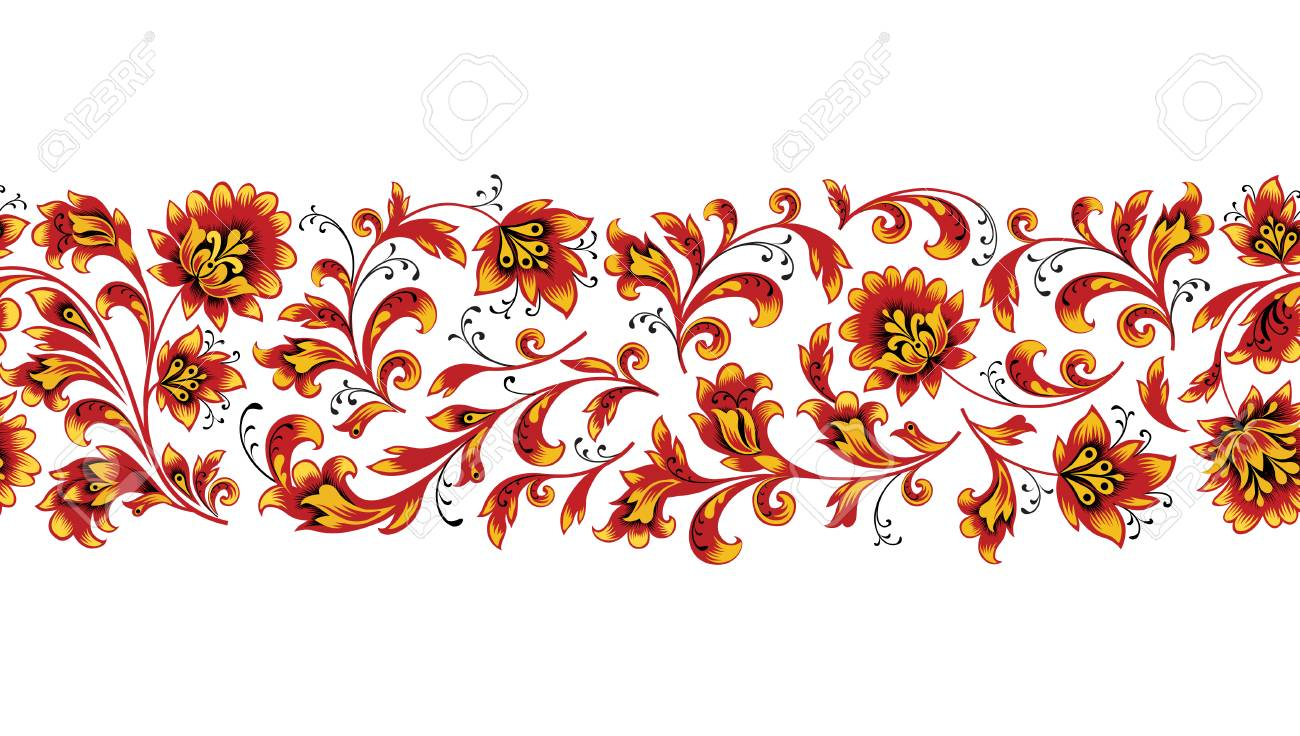 Floral Seamless Pattern Design Element Flower Border Ornament