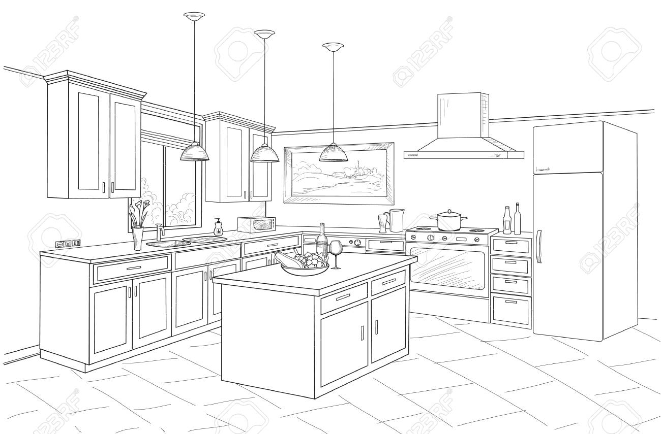 Outline blueprint design of kitchen with modern furniture and island - 97684438