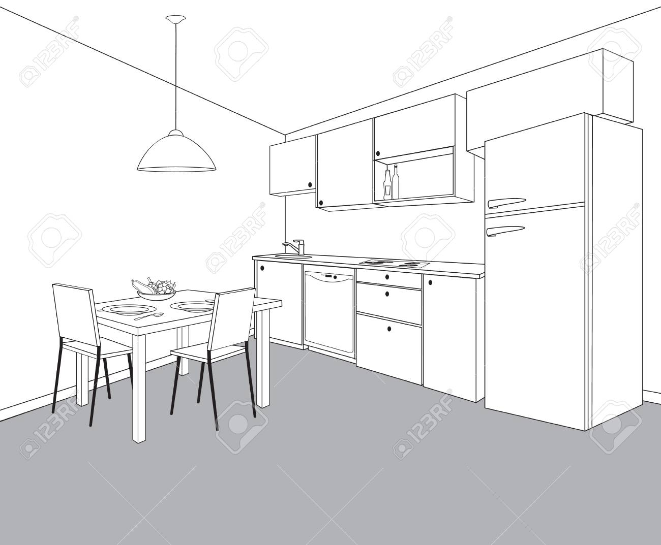 Interior sketch of kitchen room. Outline blueprint design of kitchen with modern furniture and dining  sc 1 st  123RF.com & Interior Sketch Of Kitchen Room. Outline Blueprint Design Of ...