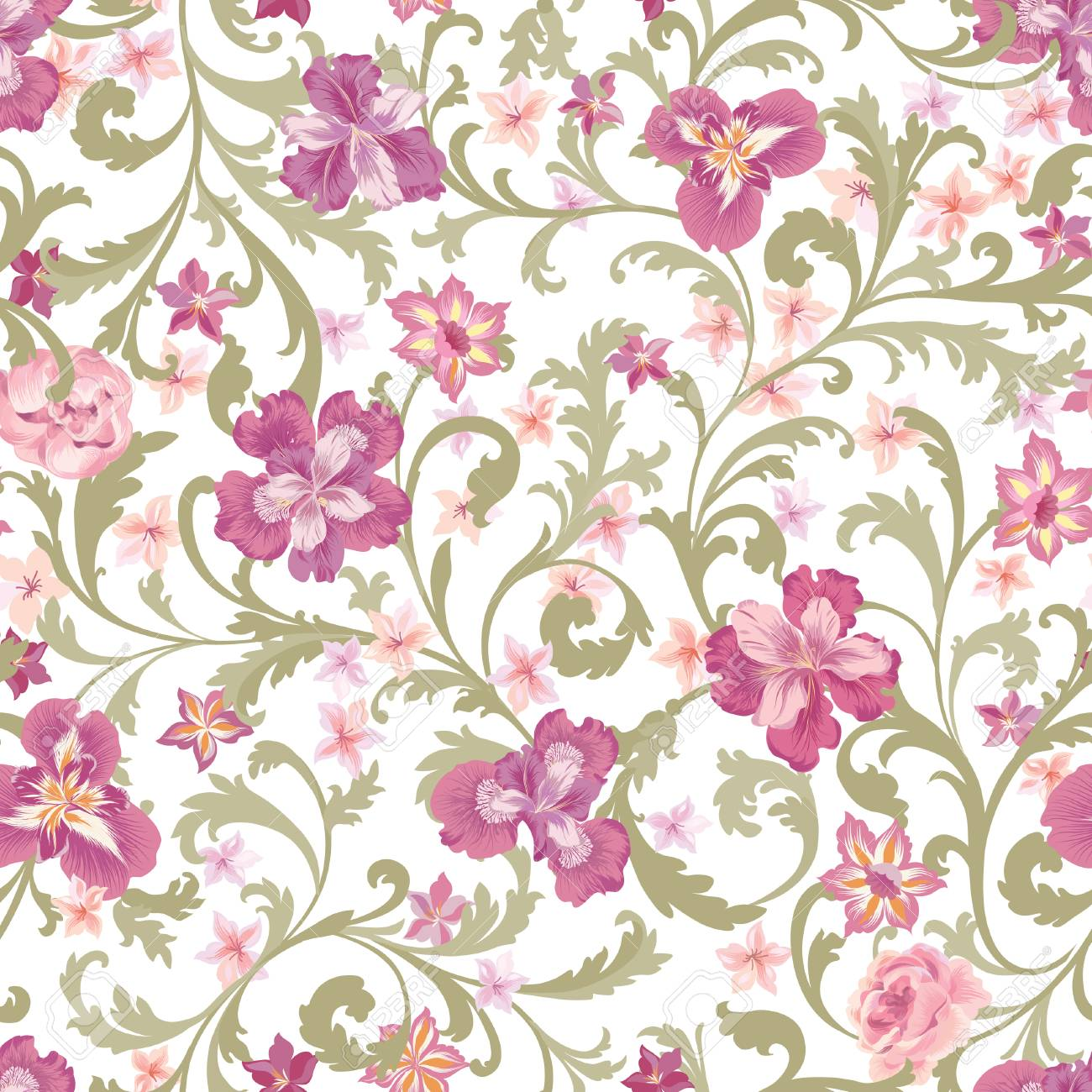 Floral Seamless Pattern Flower Background Flourish Garden