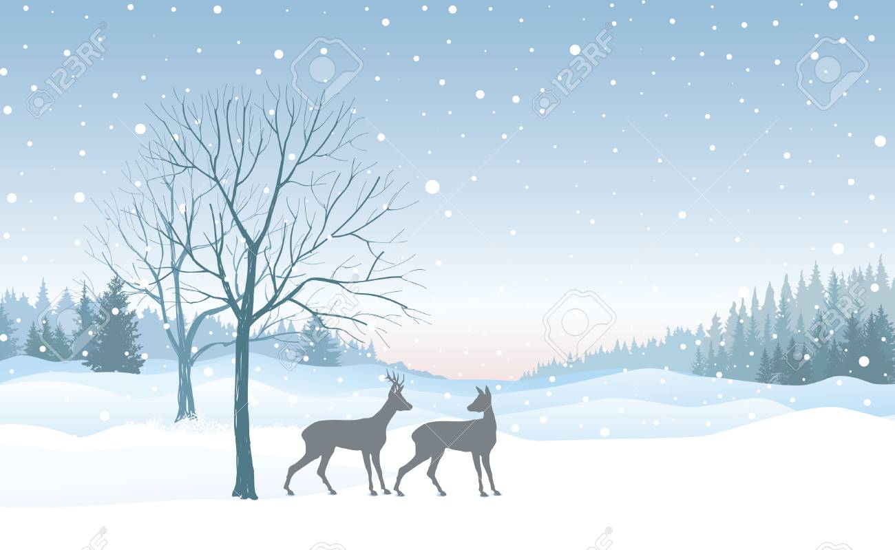123287586 christmas background snow winter landscape skyline with deers retro merry christmas wallpaper design