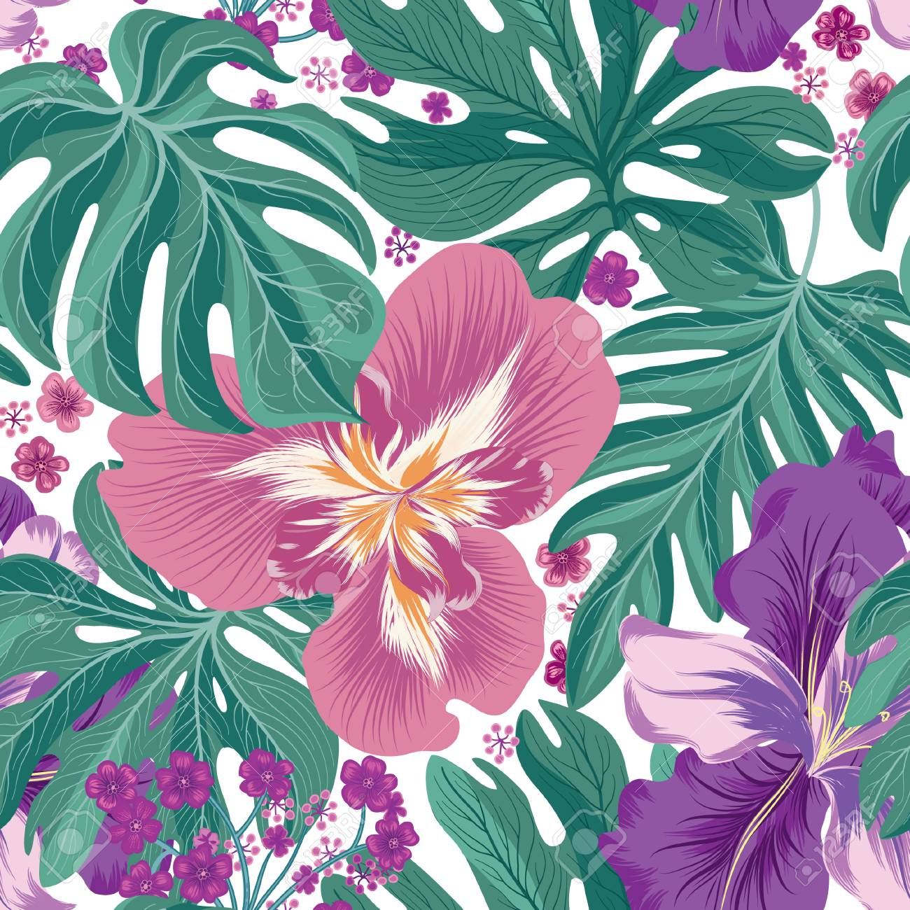 Tropcal Flowers And Palm Leaves Seamless Pattern Beautiful Floral