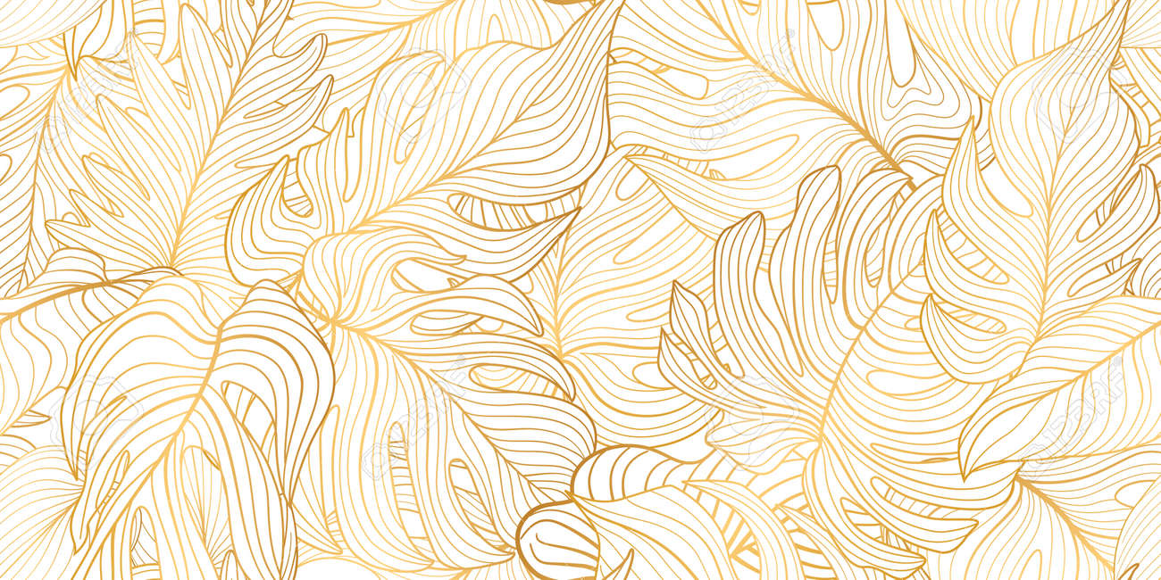 Floral seamless pattern with tropical leaves. Nature lush background. Flourish garden texture with line art leaves. Artistic drawn background - 166467008