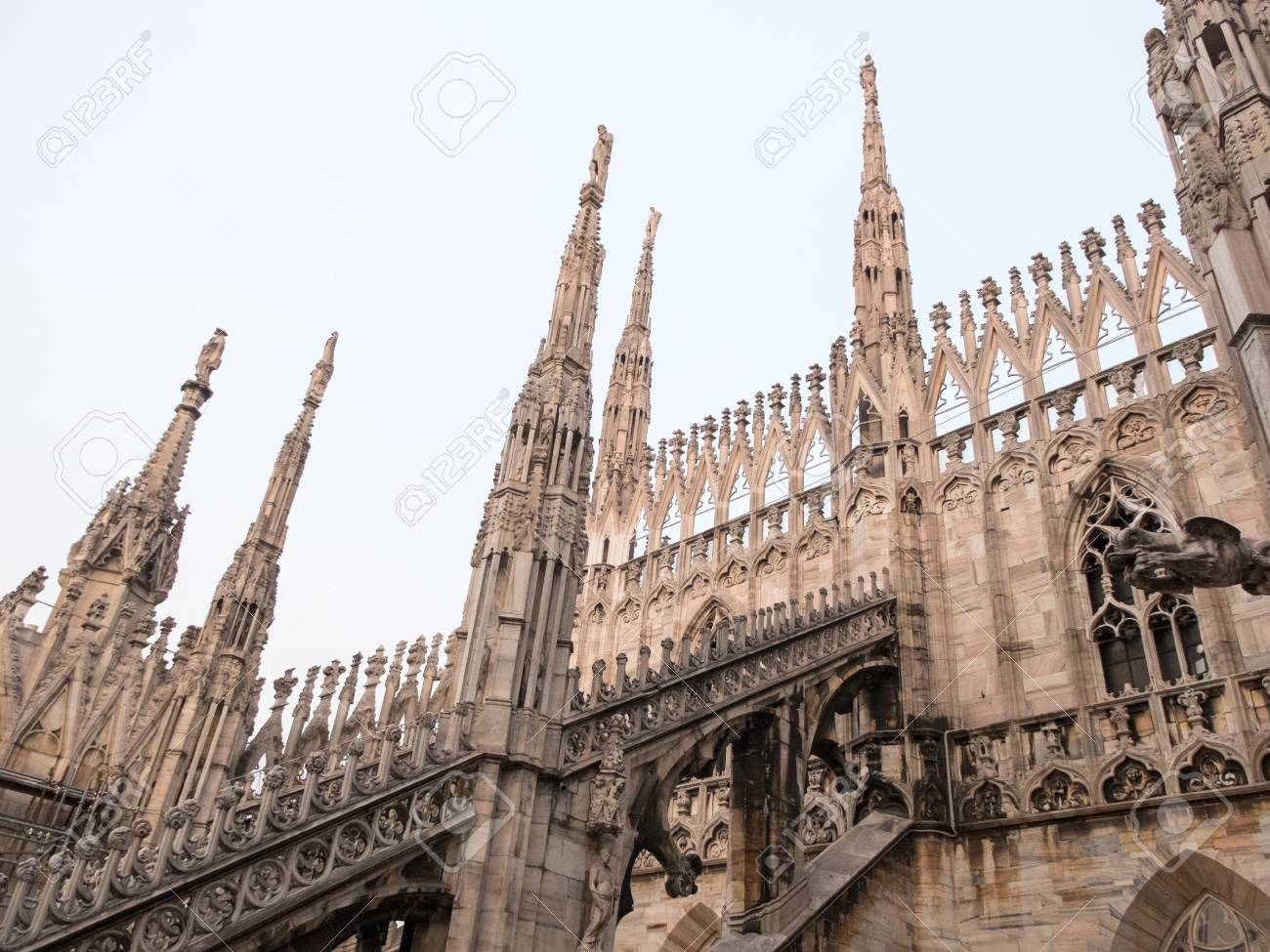 Architectural Close Up Detail Of Flying Buttresses As Part Italian Gothic Architecture Milan Cathedral