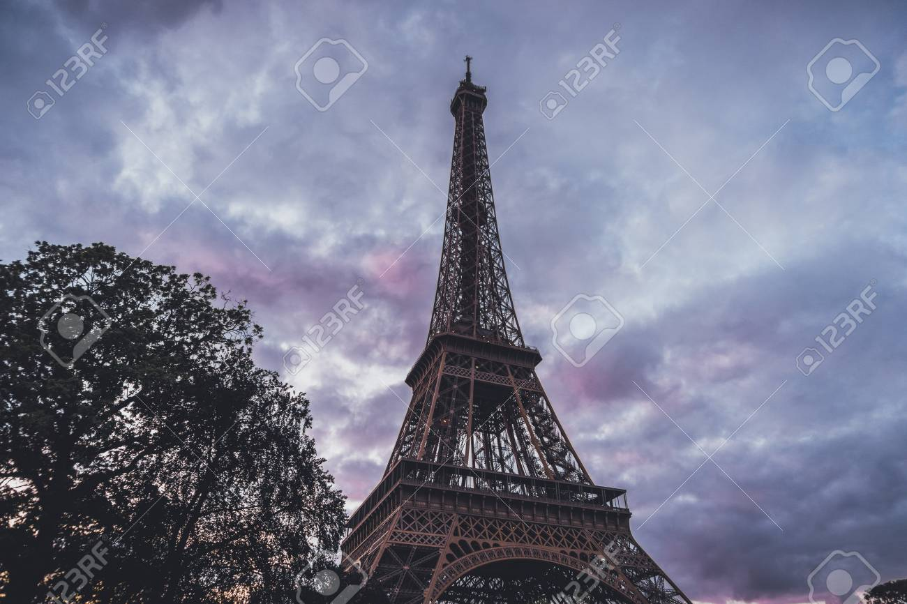 Eiffel Tower Paris France Against A Colorful Pink To Purple Stock Photo Picture And Royalty Free Image Image 71290136