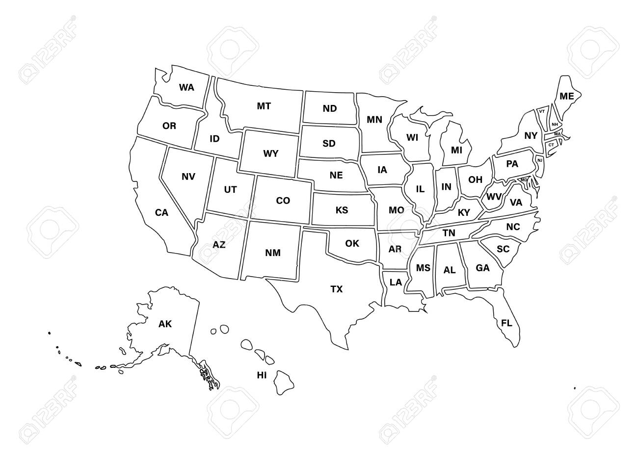 Blank similar USA map isolated on white background. United States..