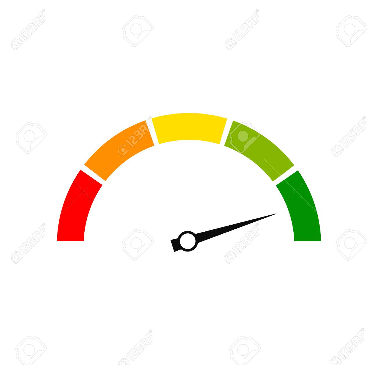 Rating customer satisfaction meter. Different emotions. Abstract concept graphic element of tachometer, speedometer, indicators, score. Vector illustration - 121772566