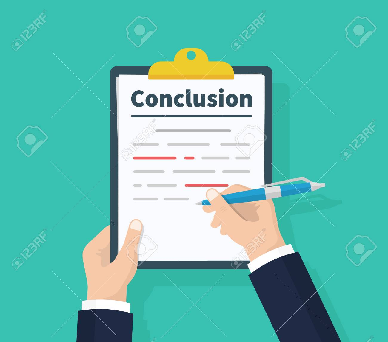 Man writes conclusion, report concept. Holding the clipboard and pen in hand. Paperwork, sheets in folder. Vector illustration flat design. Isolated on green background - 121489749