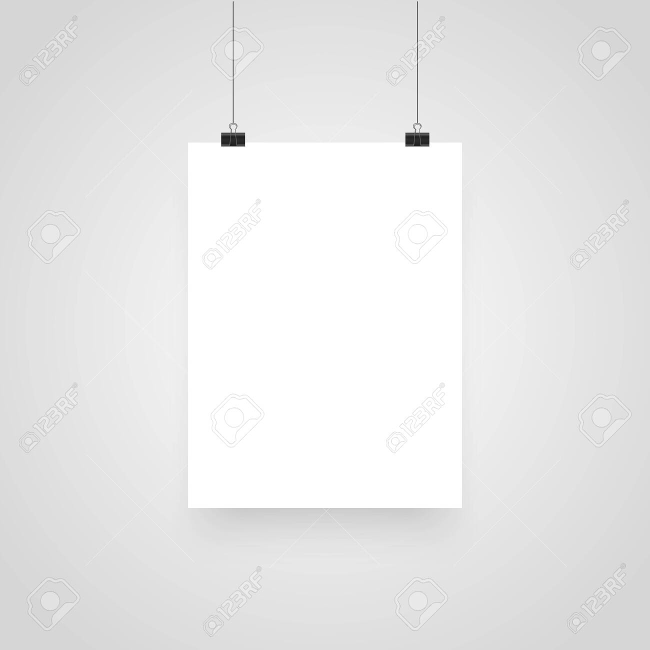 Mock-Up Realistic White Poster Hanging. Clips for Business Presentations, Place for Text. Empty White Poster Template. Vector illustration - 121773484