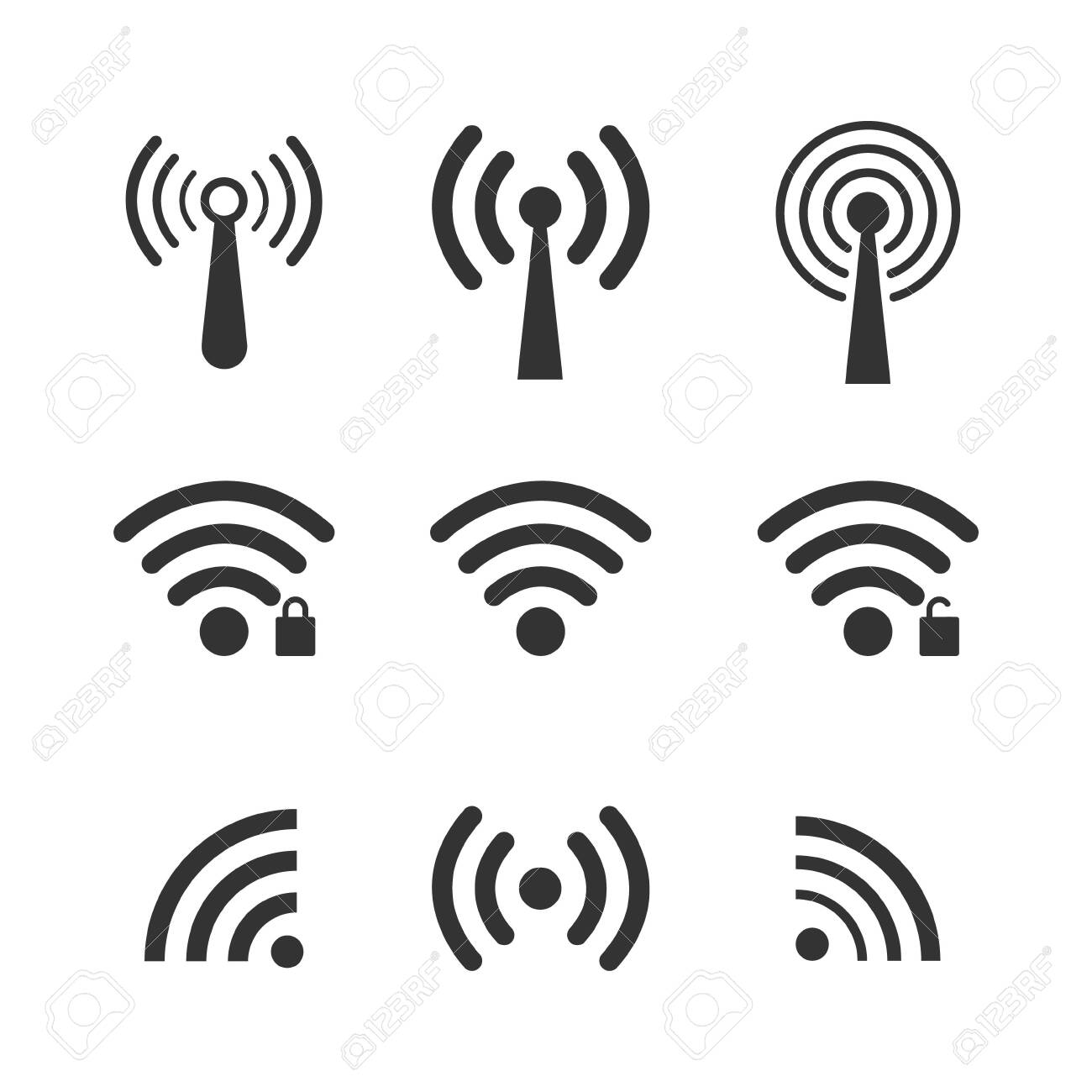 Set of wireless wifi icons, isolated on white background. Vector illustration - 121489792