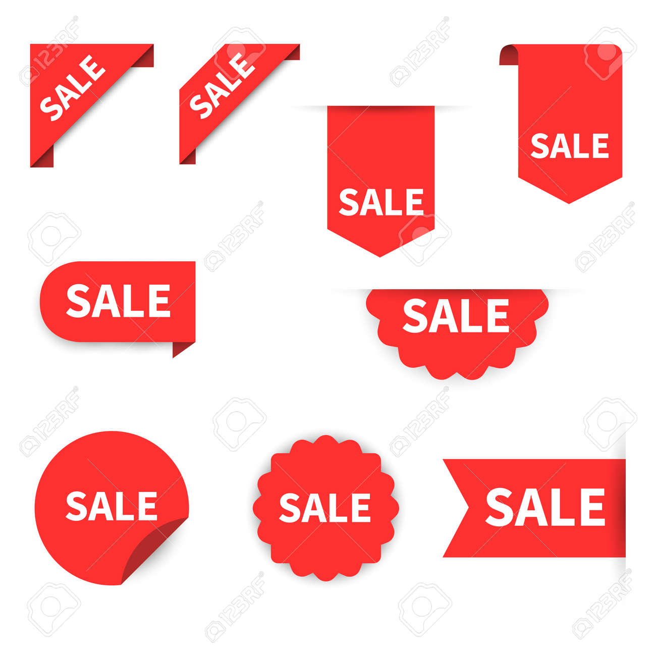 Sale Label collection set. Sale tags. Discount red ribbons, banners and icons. Shopping Tags. Sale icons. Red isolated on white background, vector illustration - 121773535