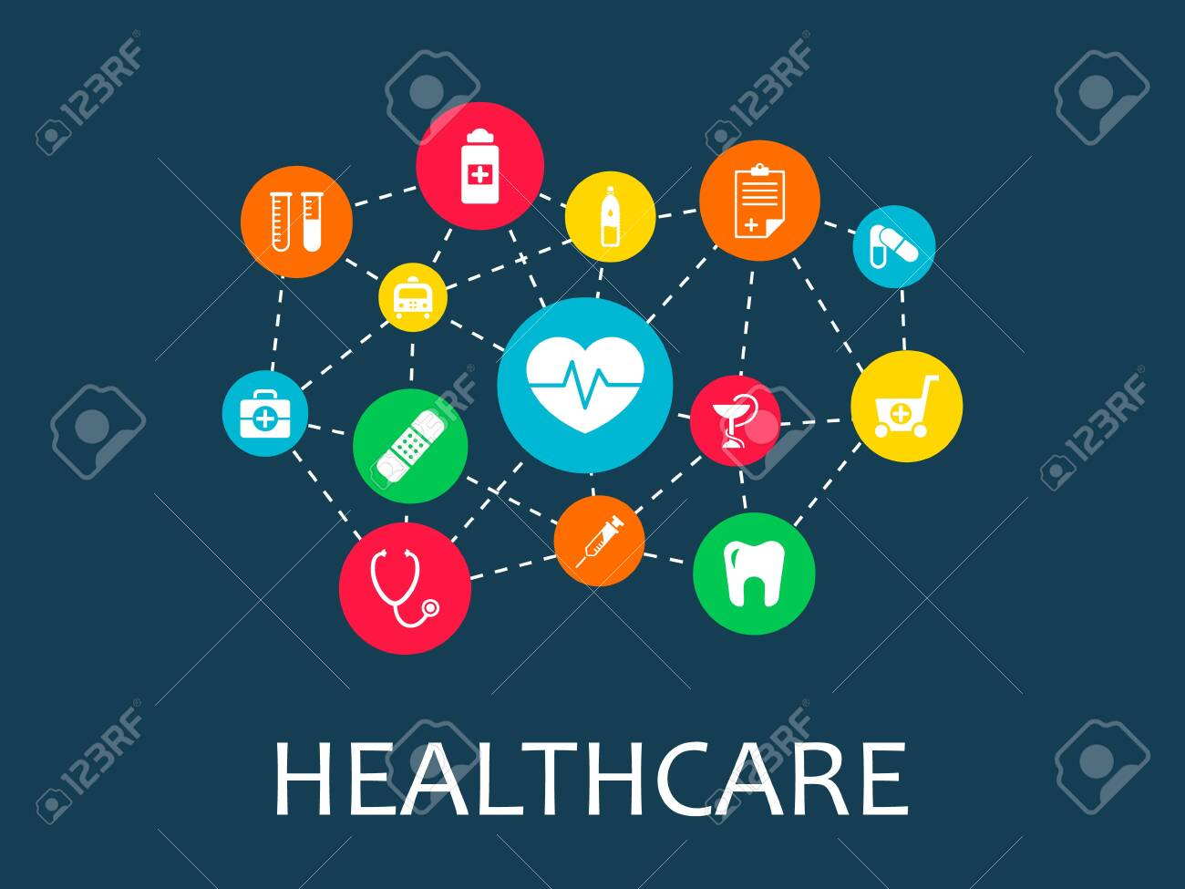 Healthcare mechanism concept. Abstract background with connected gears and icons for medical, health, strategy, care, medicine, network, social media and global concepts. Vector infographic - 122753440