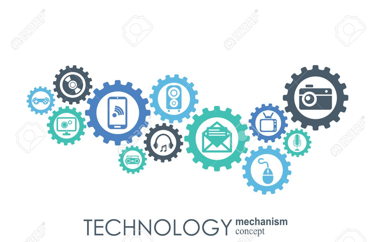 Technology mechanism concept. Abstract background with integrated gears and icons for digital, strategy, internet, network, connect, communicate, social media and global concepts. Vector infographic - 121967073