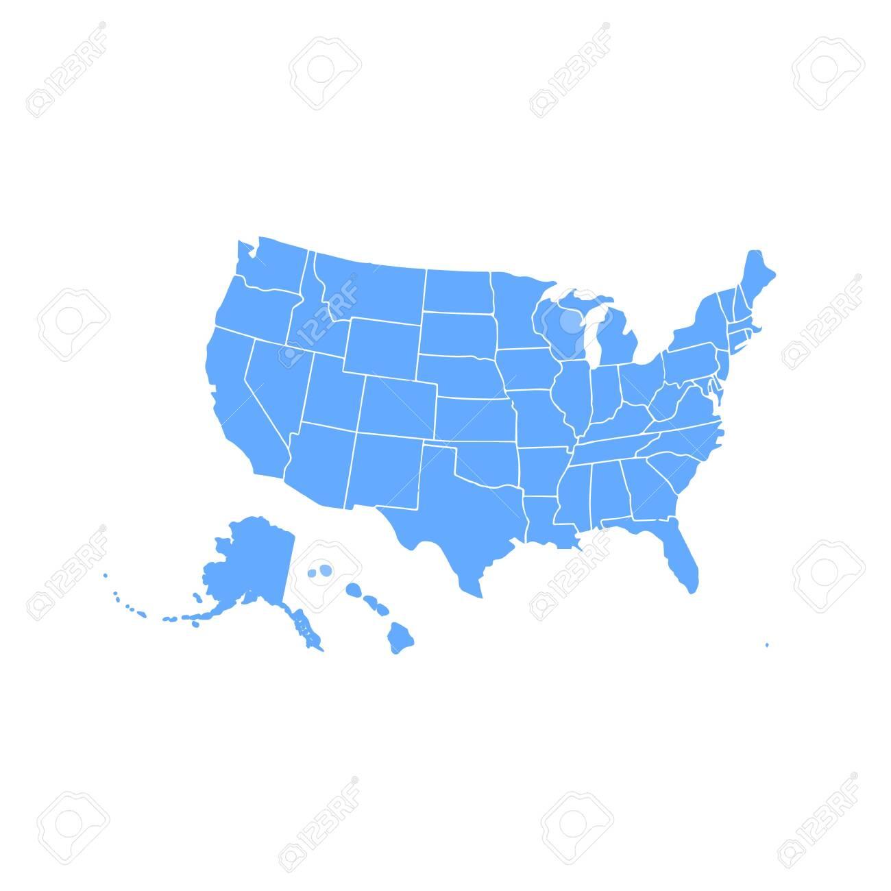 Blank similar USA map isolated on white background. United States..